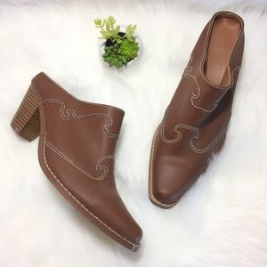 Shoes - Western style snip toe mules brown stacke
